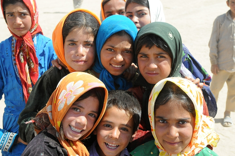 Girls at the Sozma Qala Refugee Camp in Sar-e-Pul province, Afghanistan.